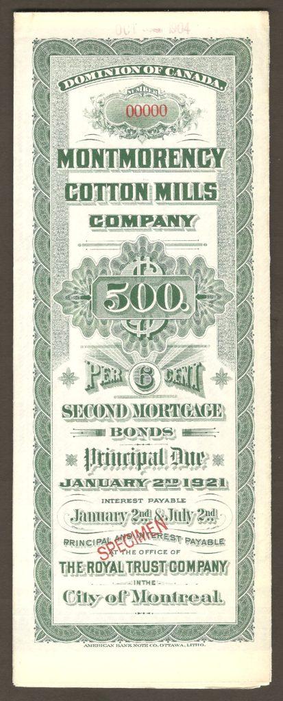 Chute Montmorency : spécimen de certificat d'obligation de seconde hypothèque de 500$ émis par la Montmorency Cotton Mills Company le 2 janvier 1921. Cependant, cette compagnie avait été intégrée à la Dominion Textile depuis 1905. Par conséquent, on peut croire que seule la subdivision de Montmorency était responsable de cette souscription.