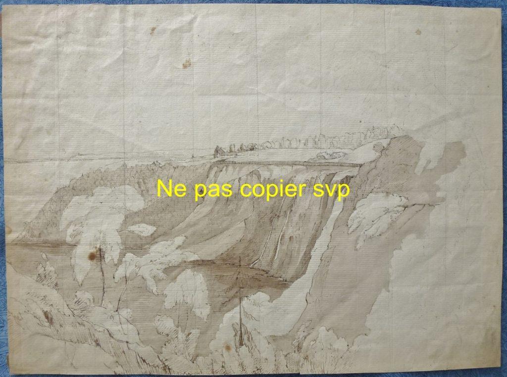 Dessin à l'encre, exécuté par un artiste non identifié. Fait à partir du haut de la falaise, côté est, et montrant les abords de la chute du côté opposé. Appartenait auparavant à la collection Alexander Raydon.