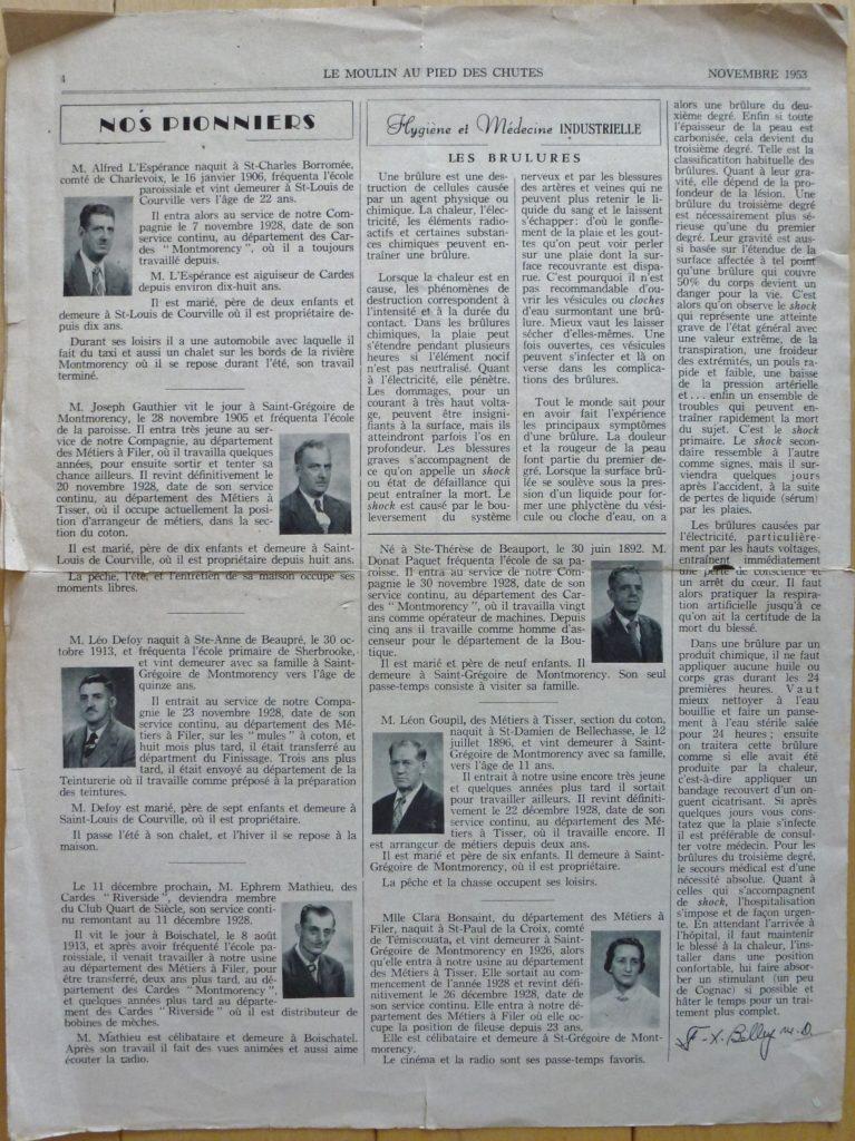 Le journal mensuel Le Moulin au pied des chutes, qui était publié par la succursale de Montmorency de la compagnie Dominion Textile. Il s'agit ici du numéro 12, volume XII, c'est-à-dire celui de décembre 1953.