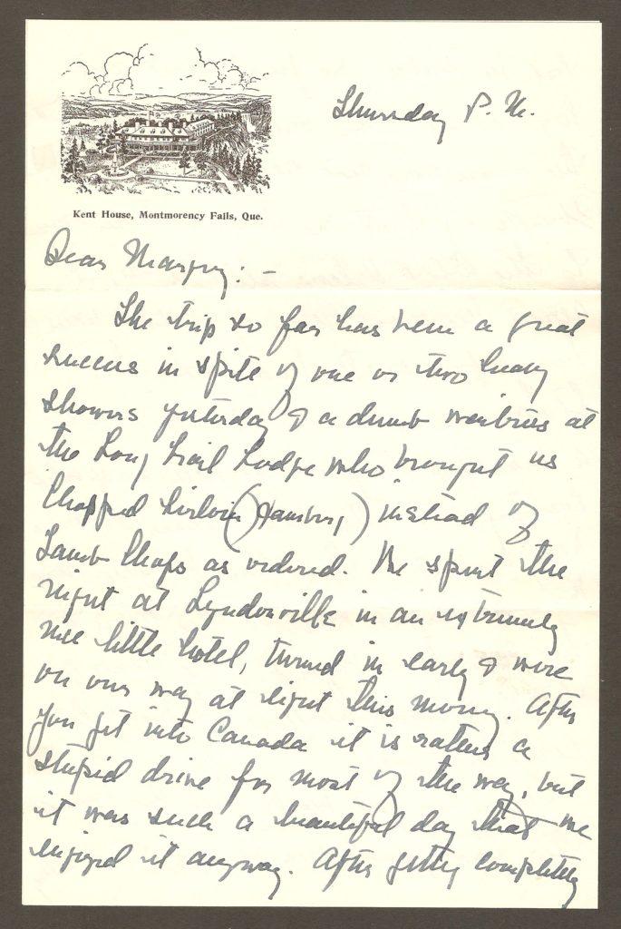 De la correspondance. Papier à lettre à en-tête de l'hôtel Kent House, chute Montmorency.