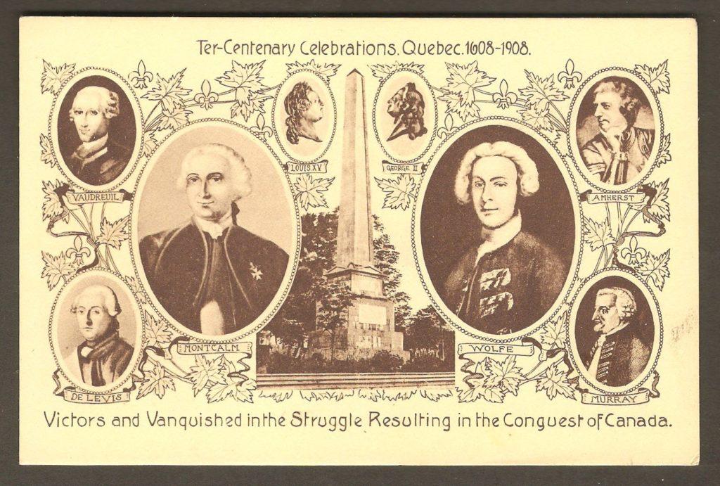 Une autre carte postale publiée à l'occasion du tricentenaire de Québec, en 1908. On y trouve les portraits des principaux protagonistes du siège de Québec, en 1759. Certains d'entre eux ont également été les acteurs majeurs de la bataille de Montmorency. Parmi les officiers illustrés sur la carte qui ont dirigé la bataille se trouvent: le marquis de Montcalm, le général James Wolfe, le chevalier François-Gaston de Lévis et James Murray.