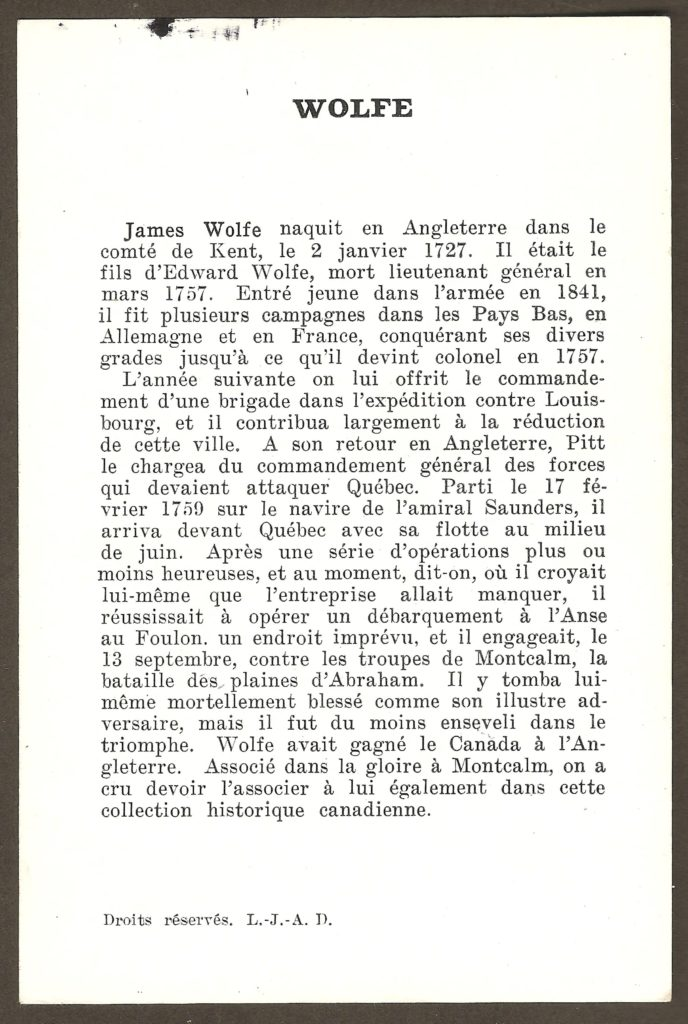 Brève fiche biographique de James Wolfe, l'officier anglais qui a dirigé, à titre de commandant en chef, l'attaque britannique du 31 juillet 1759, près de la chute Montmorency.