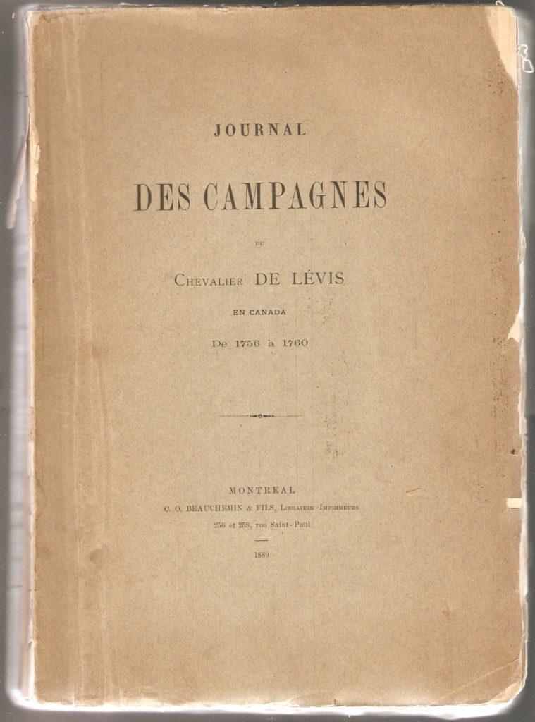 Journal des campagnes du Chevalier de Lévis en Canada De 1756 à 1760, couverture.