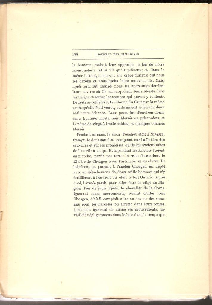 Journal des campagnes du Chevalier de Lévis en Canada De 1756 à 1760, page 188.