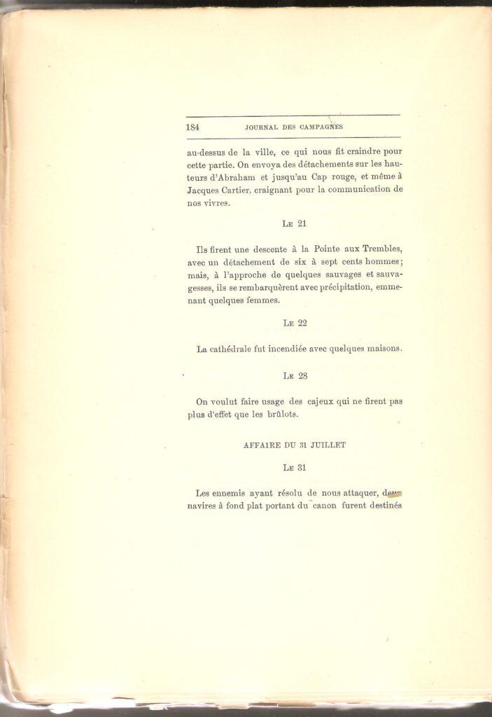 Journal des campagnes du Chevalier de Lévis en Canada De 1756 à 1760, page 184.