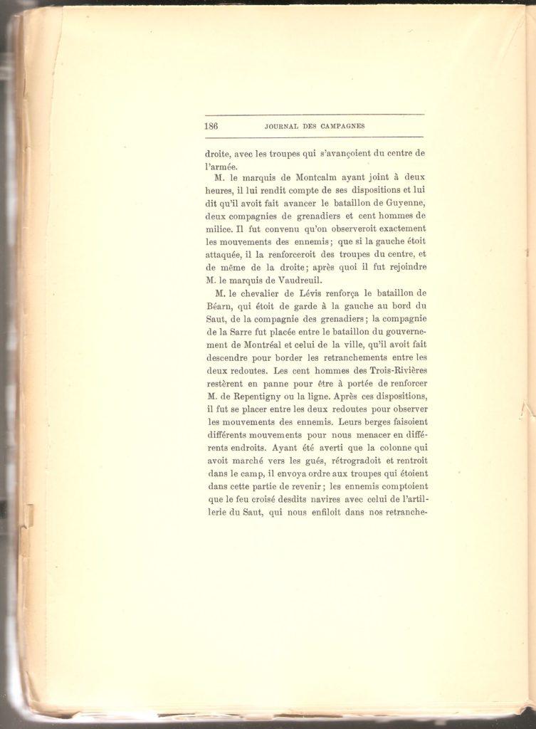 Journal des campagnes du Chevalier de Lévis en Canada De 1756 à 1760, page 186.