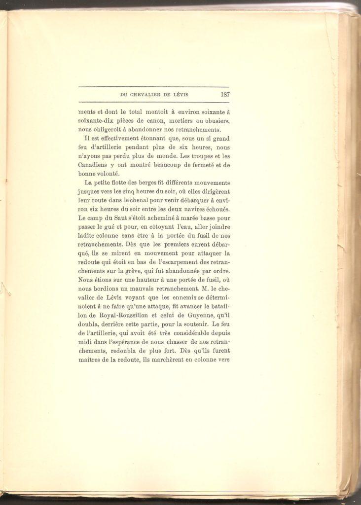 Journal des campagnes du Chevalier de Lévis en Canada De 1756 à 1760, page 187.