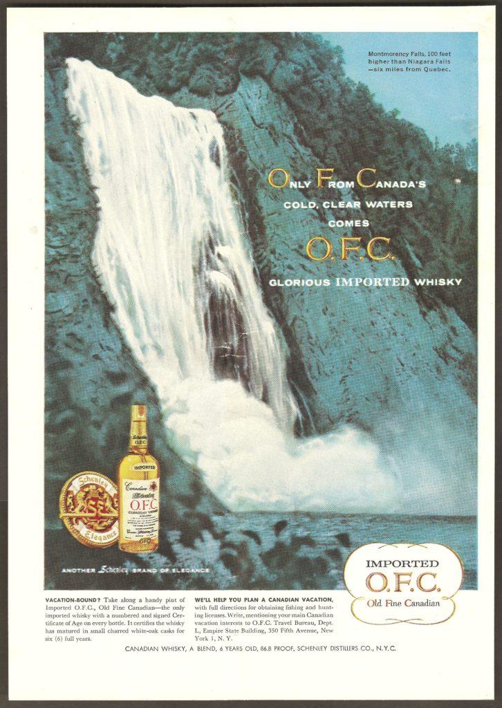 La chute Montmorency sur une publicité pour le Old Fine Canadian Whisky. Elle a également été publiée dans un magazine, vers 1955, par la Schenley Distillers Co., de New York.