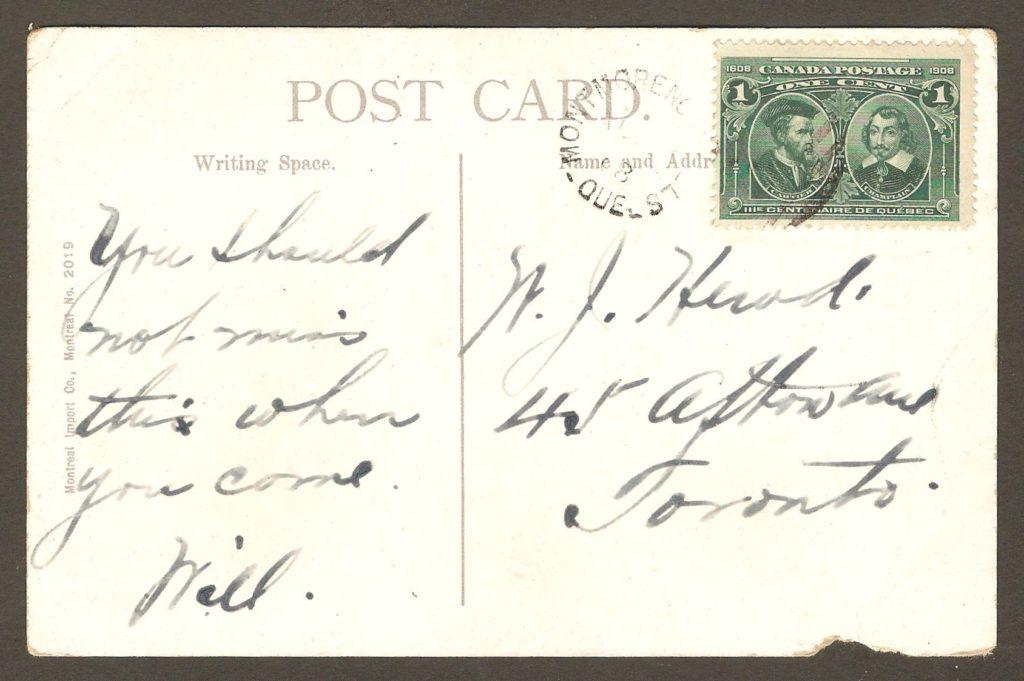 Une carte postale postée en août 1908 de Montmorency Falls. Le jour est illisible sur le cachet postal.
