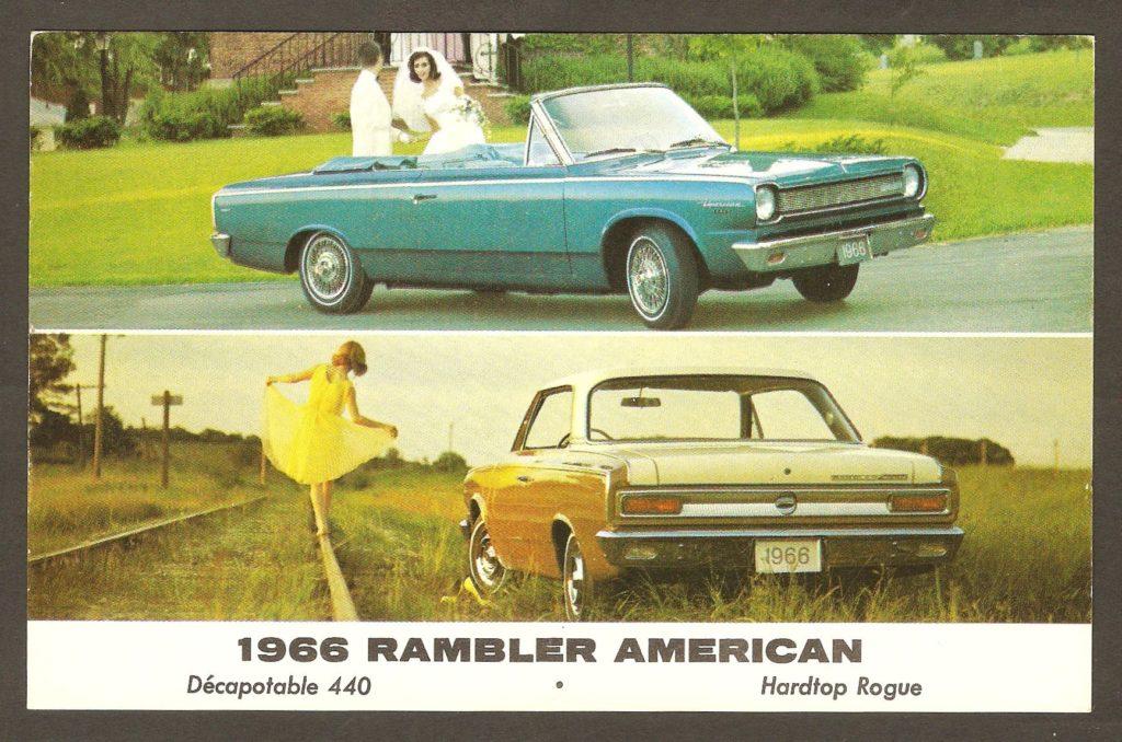 Une carte postale publicitaire adressée à un monsieur habitant au 2324 Larue, à Courville, en 1966. On y fait la promotion de la Rambler 1966, de American Motors, c'est-à-dire des versions décapotable 440 et Hardtop Rogue.