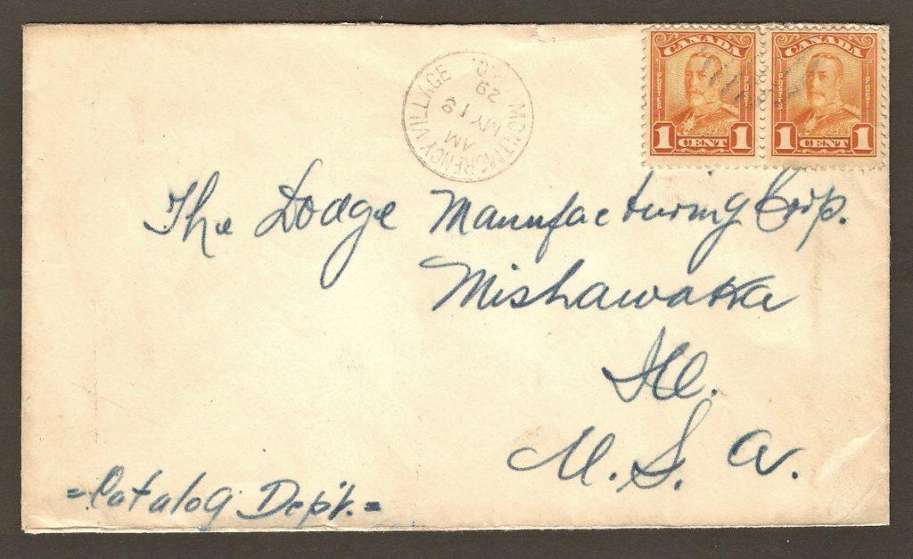 Une lettre avec cachet postal de Montmorency Village, 18 mai 1929, à destination de The Dodge Manufacturing Corp., Mishawaka, Illinois. On remarque que le cachet est différent de celui de 1909. Il est maintenant cerclé.