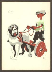 Carte postale illustrée du dessin d'un enfant conduisant une voiturette à laquelle un chien est attelé. Elle date probablement des années 1940.