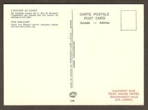 Un tampon à l'endos de la carte révèle qu'elle a été vendue à la boutique de souvenirs de l'hôtel Kent House.