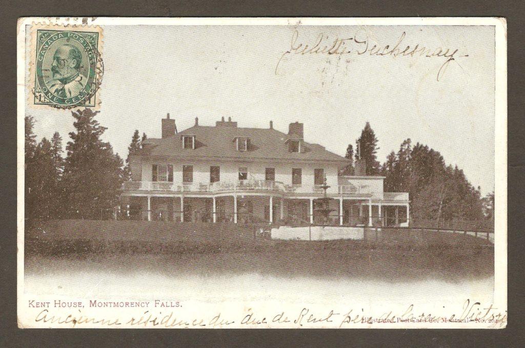 L'hôtel Kent House, sur une carte à dos non divisé postée de Québec le 9 juin 1904 à destination de Maâtz, en France.