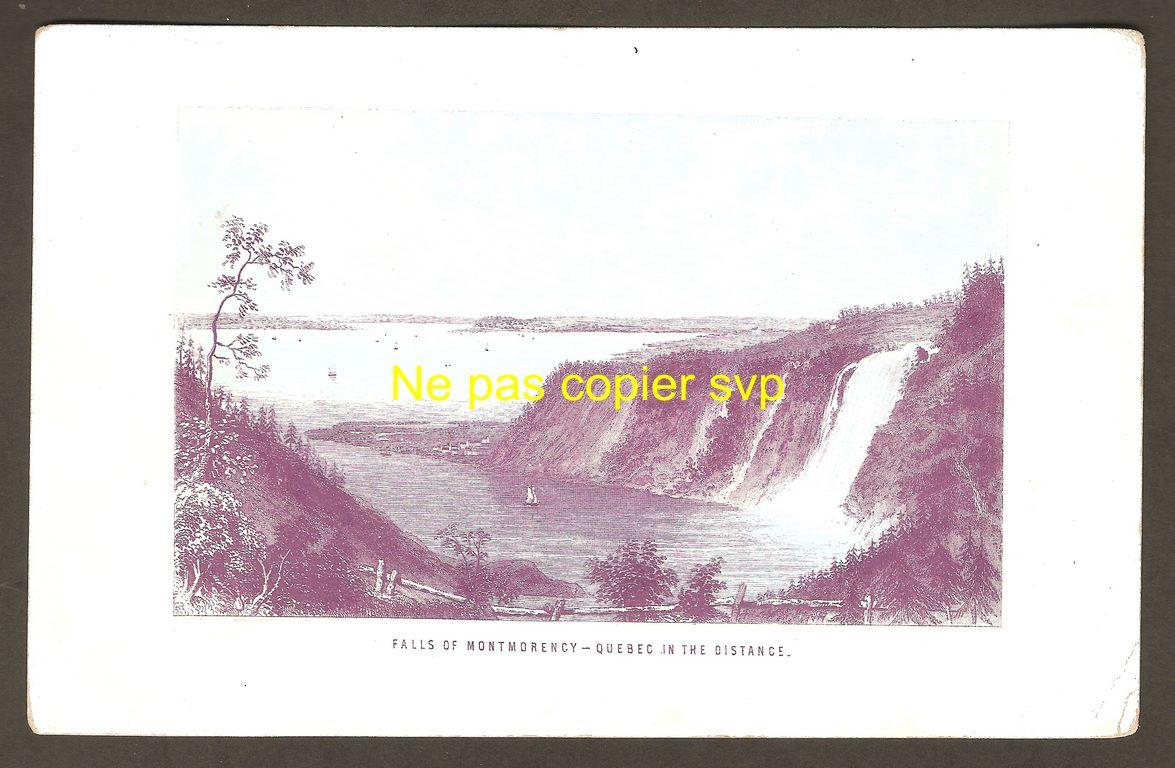 Gravure miniature « Falls of Montmorency - Quebec in the distance » montrant la chute Montmorency et son anse, ainsi que la ville de Québec, au loin. On remarque également la présence de quelques voiliers, un dans l'anse et les autres sur le fleuve Saint-Laurent.