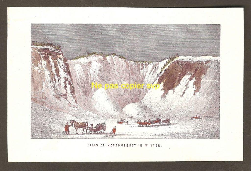 Gravure miniature « Falls of Montmorency in Winter » montrant la chute Montmorency dans une gangue de glace (on peut croire qu'il fait alors très froid). On remarque qu'il y a un double pain de sucre. On peut également plusieurs traîneaux ainsi que de nombreux glisseurs.