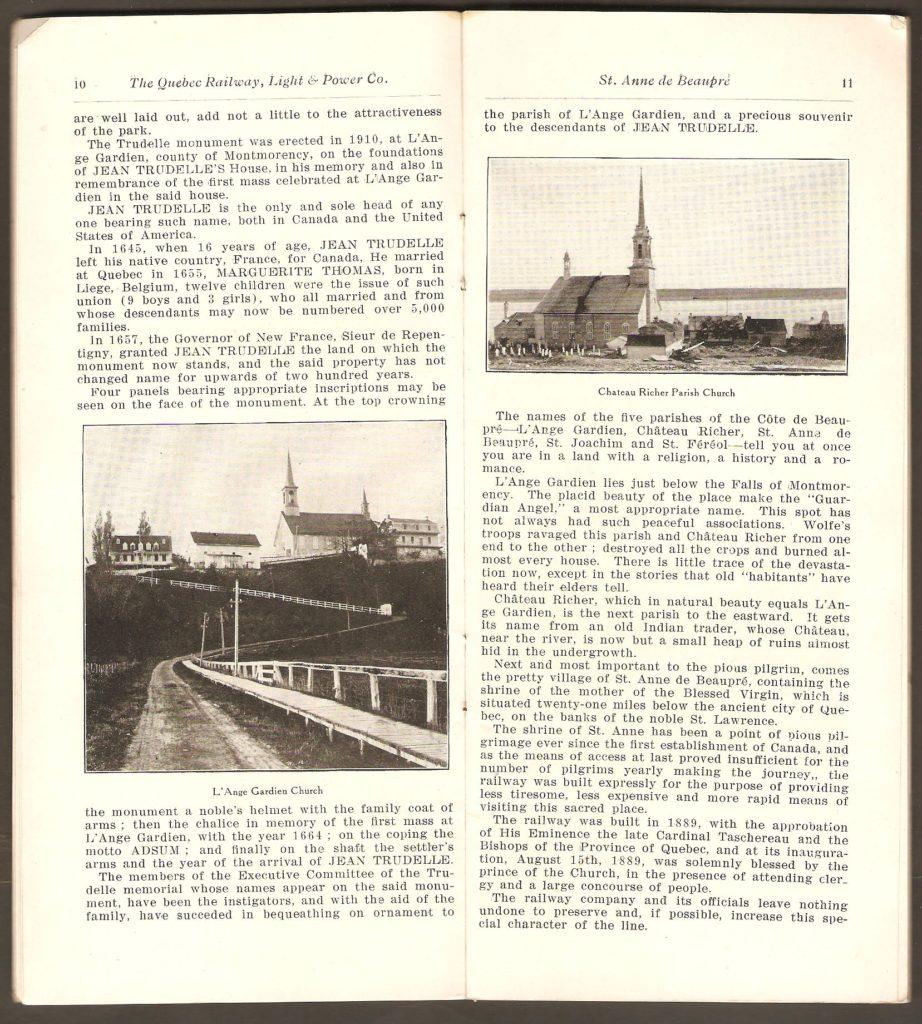 Les pages 8 et 9, où l'on trouve les photos des églises de L'Ange-Gardien et Château-Richer.