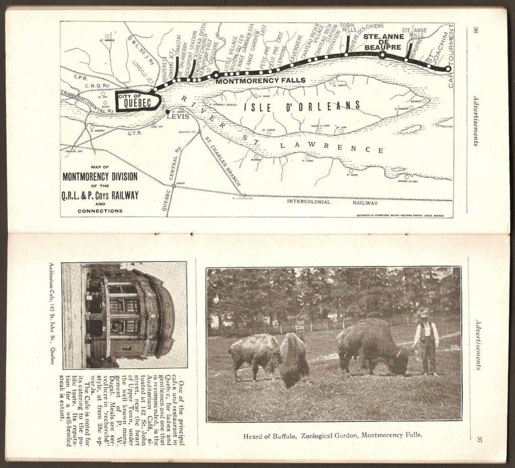 On trouve sur la page du haut le tracé de la division Montmorency de la Q.R.L.&P. Et en bas, une photo de l'enclos des bisons.