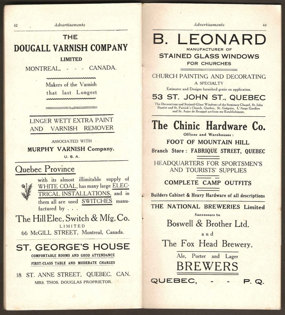 Deux autres pages de publicités, dont celle de The National Breweries Limited, de Québec, ayant succédé à la Boswell & Brother Ltd. et à The Fox Head Brewery.