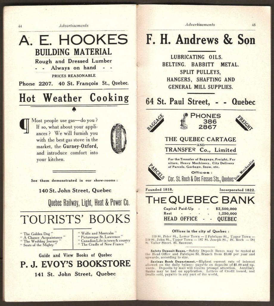 Ici, sur la page de droite, on trouve une intéressante publicité de The Quebec Bank, fondée en 1818.