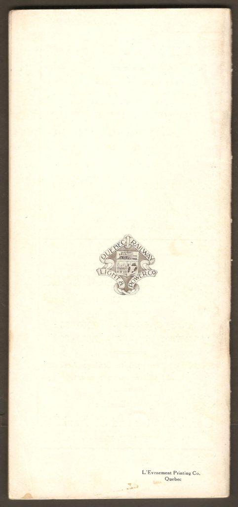 L'endos de la brochure où se trouvent l'emblème de la Q.R.L.&P. et le cachet de l'imprimeur (Les Imprimeries de l'Événement, à Québec).
