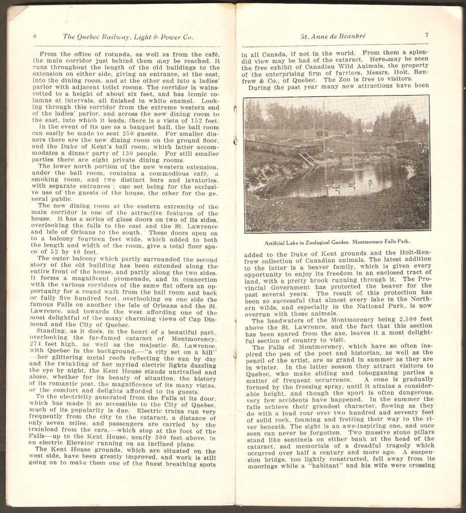 Pages 6 et 7. On y lit, entre autres, que l'accès au zoo Holt Renfrew était alors gratuit.