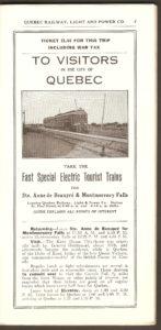 Page publicitaire montrant un tramway, quelque part sur le trajet entre Québec, la chute Montmorency et Sainte-Anne-de-Beaupré. On y apprend que le trajet coûtait 1,55$, taxe de guerre incluse. (Rappelons que la Première Guerre mondiale s'est déroulée de 1914 à 1918.)