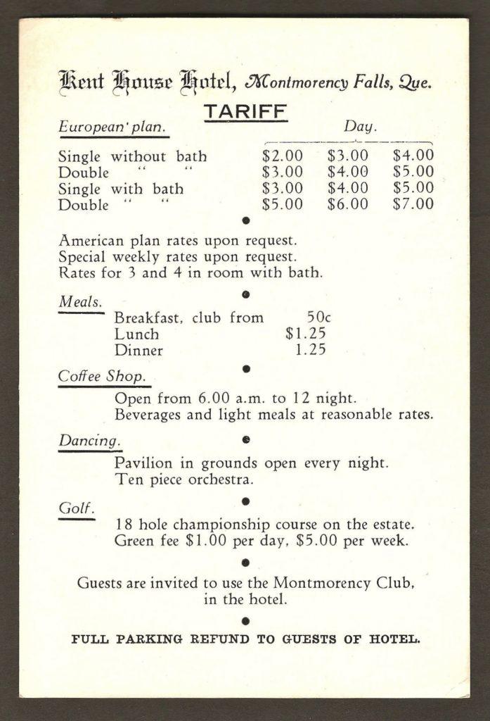 Une carte publicitaire, de format carte-postale, affichant les tarifs du Kent House et des activités, autour de 1930-1940. L'autre face est illustrée d'une photo de la façade de l'hôtel.