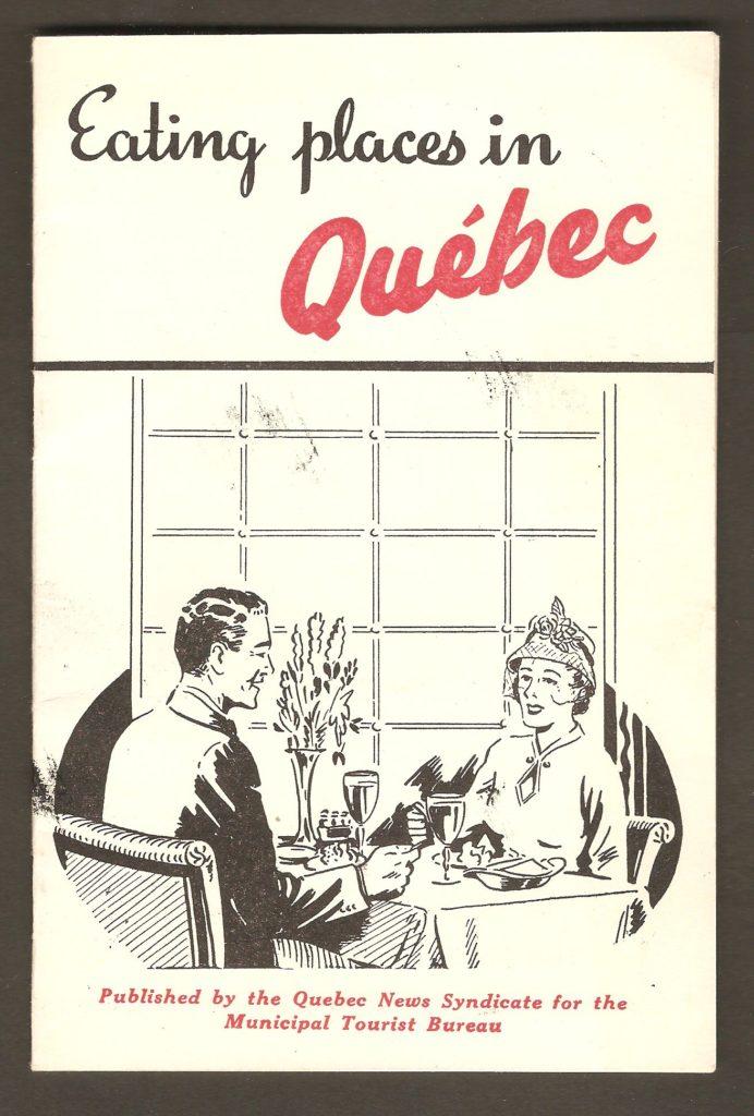 Carnet publicitaire de 16 pages, en anglais, publié vers 1930-1940 par The Quebec News Syndicate, pour l'office municipal du tourisme (Municipal Tourist Bureau). Il s'y trouve de la publicité pour plusieurs restaurants de Québec et des environs.