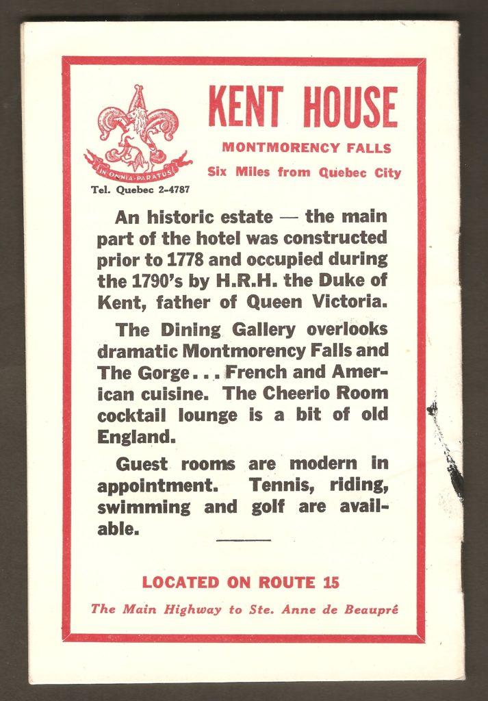 À l'endos du carnet, se trouve une publicité de l'hôtel Kent House. De plus, il y est fait mention de certaines des activités proposées par l'établissement : tennis, équitation, natation et golf.