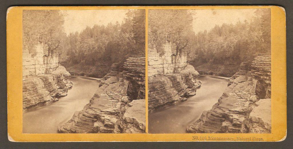 Une portion des marches naturelles de la rivière Montmorency sur un stéréogramme des Kilburn Brothers, vers 1880.