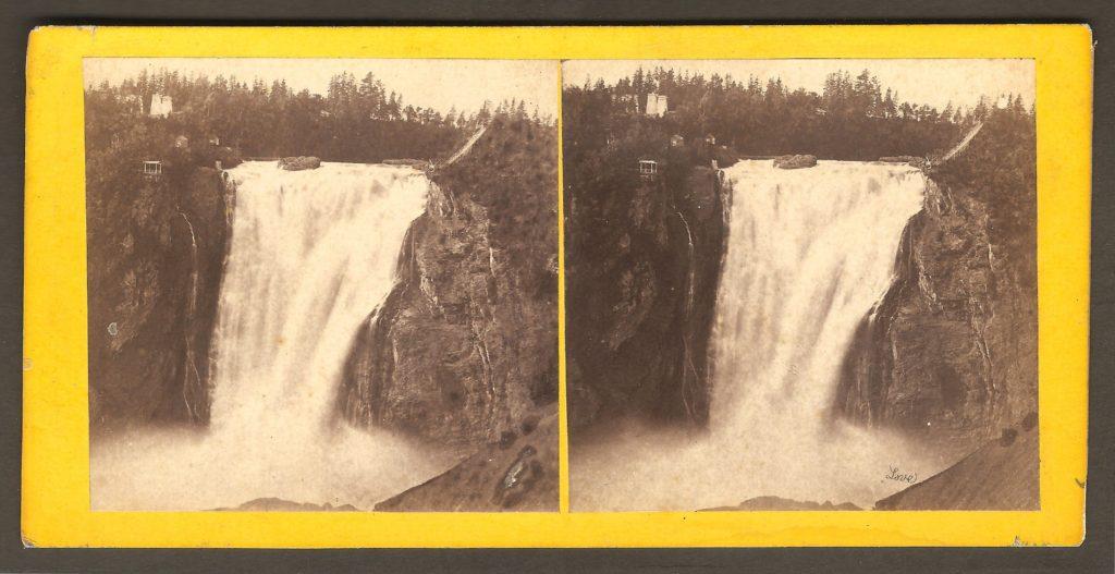La chute Montmorency vers 1870 sur un stéréogramme, probablement des Kilburn Brothers.