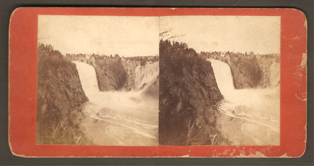 La chute Montmorency vers 1880 sur un stéréogramme de L. P. Vallée.