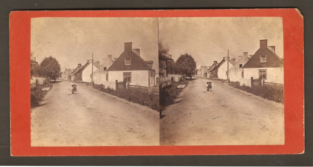 Quelque part sur la route entre Québec et la chute Montmorency, vers 1880, sur un stéréogramme de L. P.Vallée.