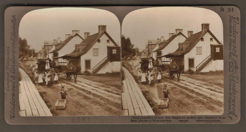 Des maisons de Beauport, sur la route vers Montmorency, vers 1880. Stéréogramme de Underwood & Underwood.