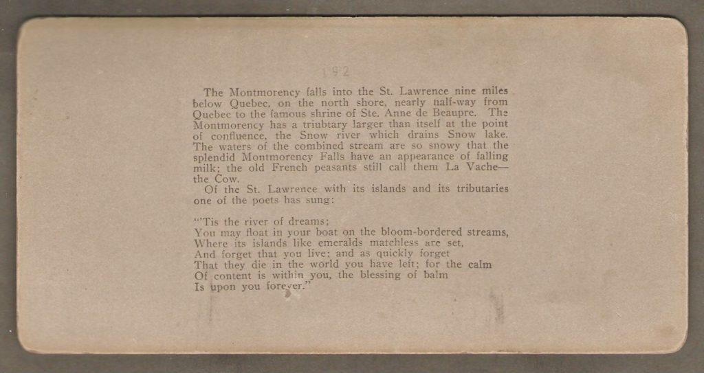 Le texte à l'endos du stéréogramme présente ce coin de la rivière Montmorency de façon quelque peu poétique.