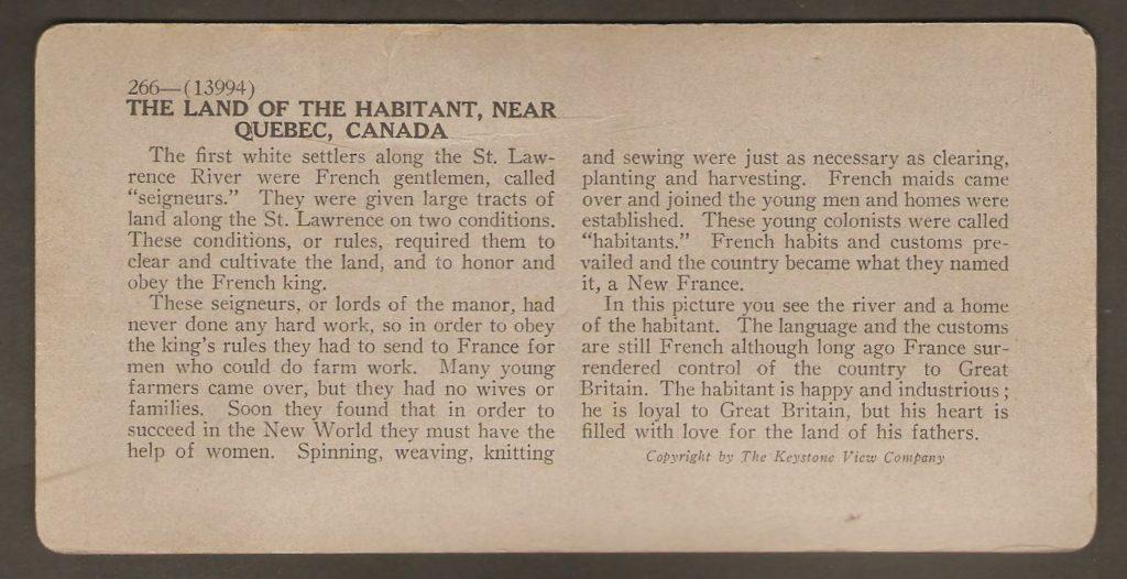 La description de l'endroit, à l'endos du stéréogramme, présente un texte plutôt poétique. Il semble que le rédacteur de la Keystone Views Company pour les stéréogrammes avait une âme de poète.