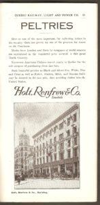 Une publicité de la Holt Renfrew & Co. dont l'on voit la façade du premier magasin, sur la rue Buade à Québec.