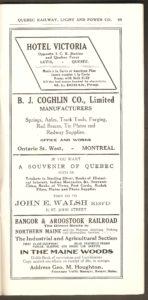On peut, entre autres, voir sur cette page une publicité de la boutique de souvenirs de John E. Walsh Reg'd. Ce commerçant a notamment édité des cartes postales, dont une à propos de la légende de la Dame blanche, qui est exposée dans une autre page de cet site.
