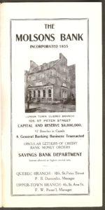 Une publicité de la Molsons Bank. On y voit la façade de la succursale de la rue Saint-Pierre, à Québec.