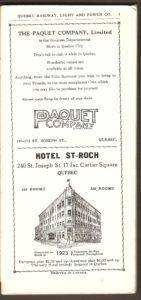 Brochure de la Quebec Railway Light & Power Co. Une page présentant les publicités du magasin à rayons de la compagnie Paquet ainsi que de l'hôtel St-Roch.