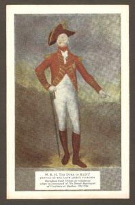 Une carte postale en couleurs illustrée d'un portrait du duc de Kent, qui a donné son nom à la villa, où il a habité entre 1791 et 1794. De même que, par la suite, à l'hôtel.