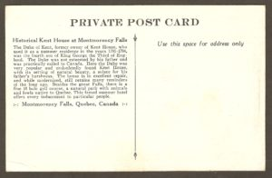 L'endos de la carte, qui révèle notamment que le duc de Kent, quatrième fils du roi Georges III, n'était pas très estimé de son père. Ce dernier l'a, en pratique, exilé au Canada.