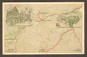Une carte postale du même éditeur et de la même époque que la précédente (vraisemblablement les années 1930 ou 1940). C'était au moment où l'hôtel Kent House était sous la gestion du Cascade Inn de Shawinigan. L'illustration situe les deux hôtels sur une carte.