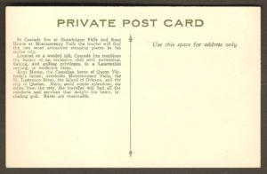 L'endos de la carte qui vante les atouts du Cascade Inn et du Kent House.