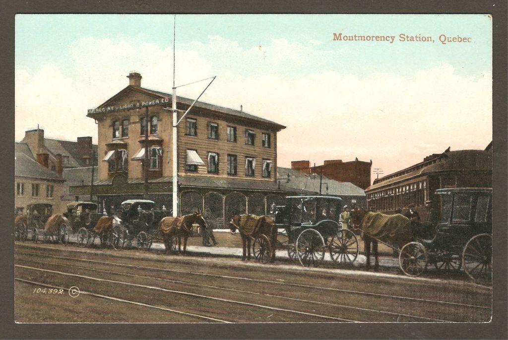 Une autre carte postale de The Valentine & Sons Publishing Co. Ltd. montrant la gare de la Q.R.L.&P. pour Montmorency, en 1910, vue sous un angle différent.