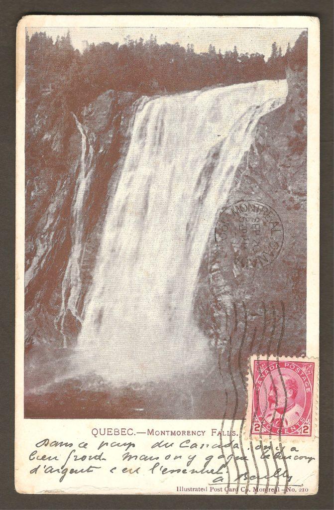 Carte postale à dos non divisé, postée de Montréal en 1904, à destination de Saïgon en Cochinchine (nom du Vietnam lorsqu'il était une colonie française). Par ailleurs, on note que la carte a été dirigée par erreur vers Seattle, comme en témoigne le tampon postal « Missent t o Seattle, Wash. »