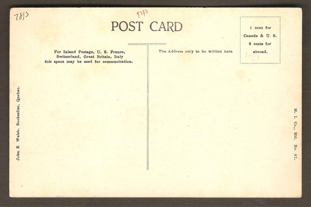 Une carte postale montrant une section des marches naturelles, un peu en amont de la chute Montmorency. Elle a été produite par la Montreal Import Co., pour le libraire de Québec John E. Walsh.