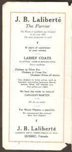 Brochure de la Quebec Railway Light & Power Co. Publicité de J. B. Laliberté.