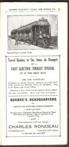 Une publicité de la Quebec Railway Light & Power Co. vantant le tramway pour Sainte-Anne-de-Beaupré.